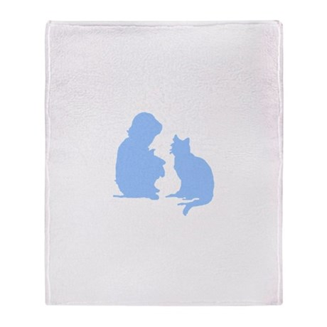 Child and Cat Throw Blanket
