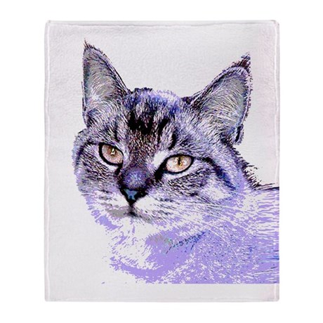 Purple Cat Throw Blanket