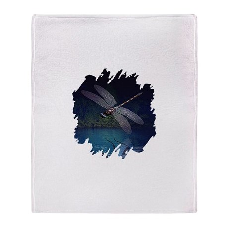 Dragonfly at Night Throw Blanket
