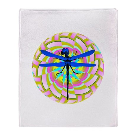 Kaleidoscope Dragonfly Throw Blanket