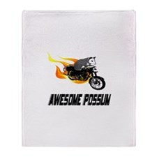 Flaming Awesome Possum Throw Blanket