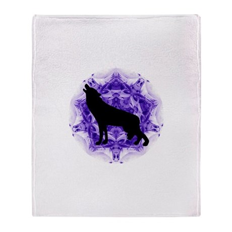 Purple Howling Wolf Throw Blanket
