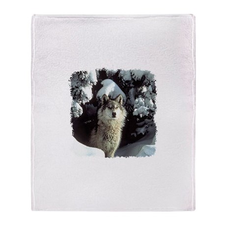 Winter Wolf Throw Blanket