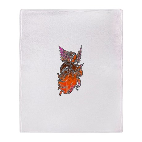 Pretty Orange Angel Throw Blanket