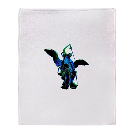 Powerful Angel - Blue Throw Blanket