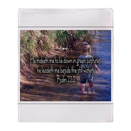 Psalms 23:2 Throw Blanket