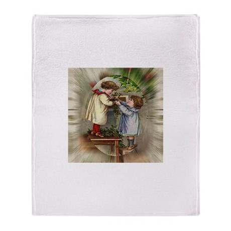Vintage Christmas Card Throw Blanket