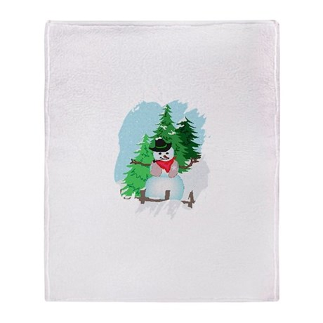 Forest Snowman Throw Blanket