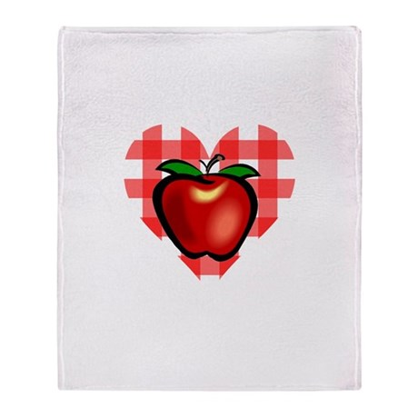Checkered Tablecloth Apple He Throw Blanket