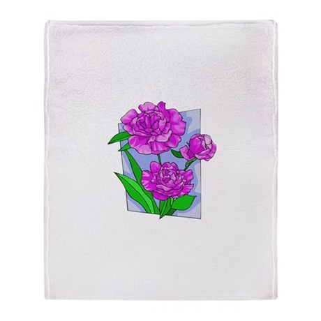 Pink Peonies Throw Blanket