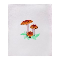 Orange Mushrooms Throw Blanket