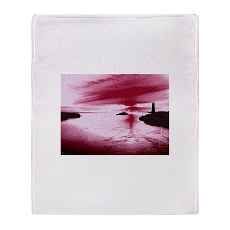 Lighthouse Sunset Throw Blanket