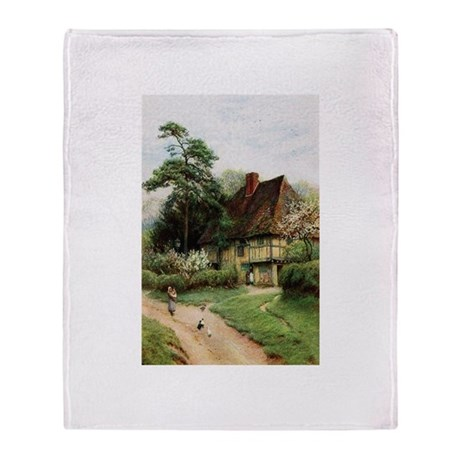 English Country Cottage Throw Blanket