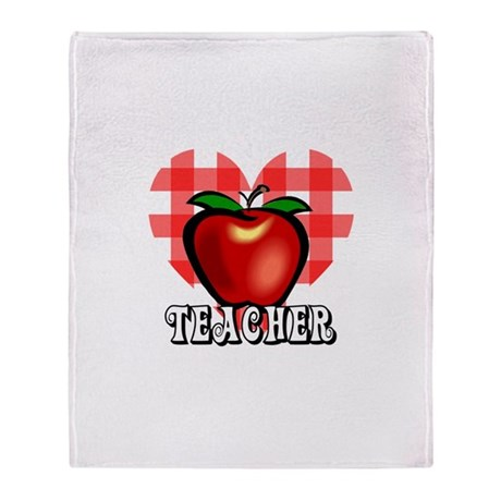 Teacher Checkered Heart Apple Throw Blanket