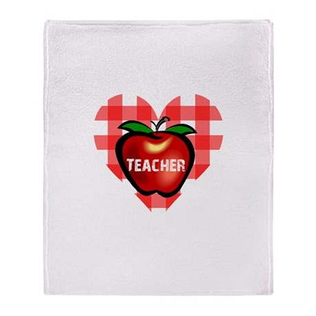 Teacher Heart Apple Throw Blanket