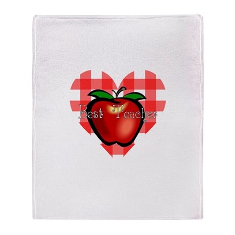 Best Teacher Checkered Heart Throw Blanket