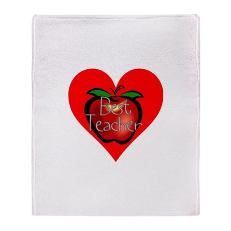 Best Teacher Apple Heart Throw Blanket