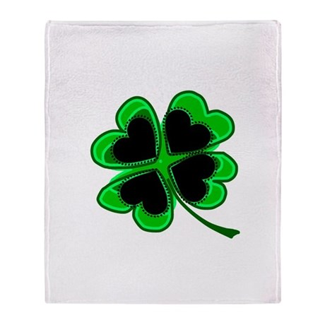 Lucky Four Leaf Clover Throw Blanket