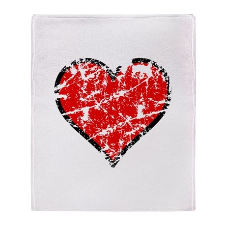 Red Grunge Heart Throw Blanket
