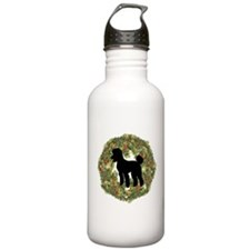 Poodle Xmas Wreath Water Bottle