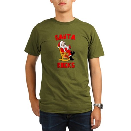 Santa Rocks Organic Mens Dark T-Shirt