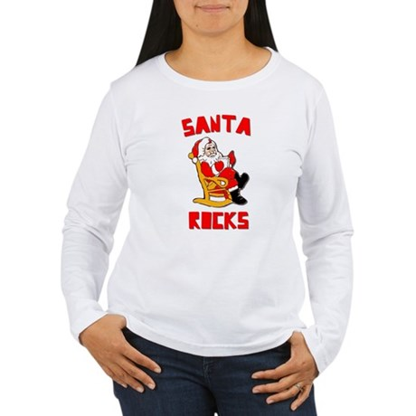 Santa Rocks Womens Long Sleeve T-Shirt