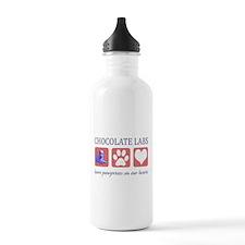 Chocolate Lab Pawprints Water Bottle