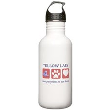 Yellow Lab Pawprints Water Bottle