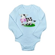 Cute Cow Milk Long Sleeve Infant Bodysuit