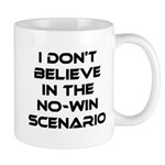 Classic Captain Kirk Quote Mug - Classic James T Kirk quote! I don't believe in the no-win scenario. He said it about the Kobayashi Maru test. Awesome gift for the Star Trek fan! See all our Trekkie designs at Scarebaby dot com!
