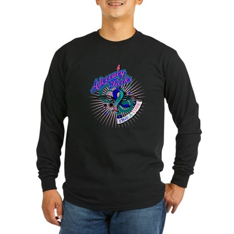 Thyroid Cancer Advocacy Rocks Long Sleeve Dark T-S
