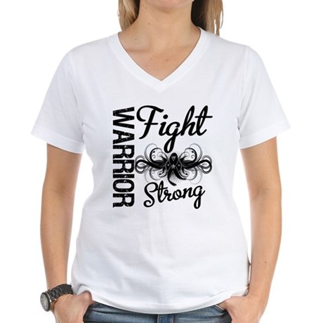 Warrior Skin Cancer Women's V-Neck T-Shirt