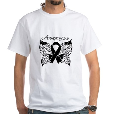 Skin Cancer Butterfly White T-Shirt
