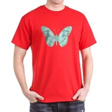 Teal Butterfly Black T-Shirt