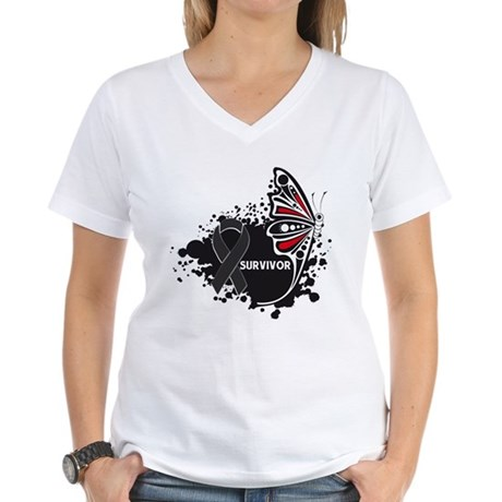 Butterfly Survivor Skin Cance Women's V-Neck T-Shi
