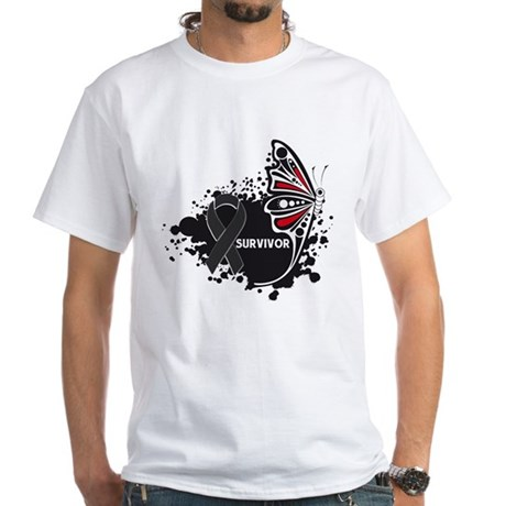 Butterfly Survivor Skin Cance White T-Shirt