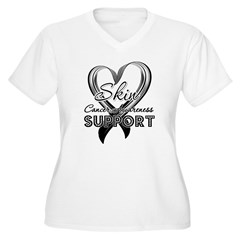 Skin Cancer Support Women's Plus Size V-Neck T-Shi