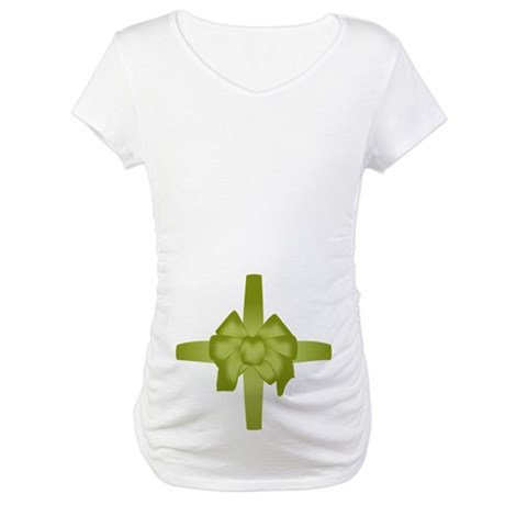 Green Tummy Bow Maternity T-Shirt
