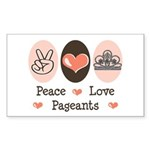 Peace Love Pageant Sticker (Rectangle)