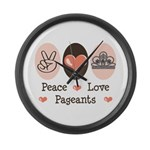 Peace Love Pageant Large Wall Clock