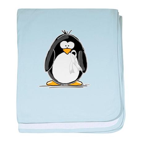 White Ribbon Penguin baby blanket