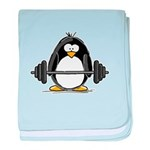 Weight lifting penguin baby blanket