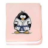 Martial Arts blue belt pengui baby blanket
