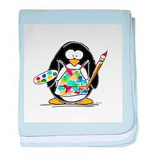 Artist penguin baby blanket