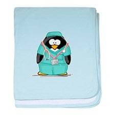 Surgeon Penguin baby blanket