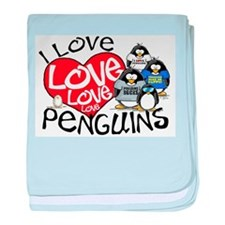 I Love Love More Penguins baby blanket