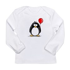 Red Balloon Penguin Long Sleeve Infant T-Shirt