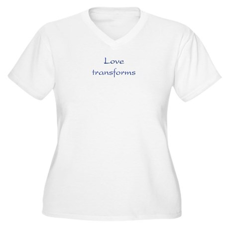 Love Transforms Women's Plus Size V-Neck T-Shirt