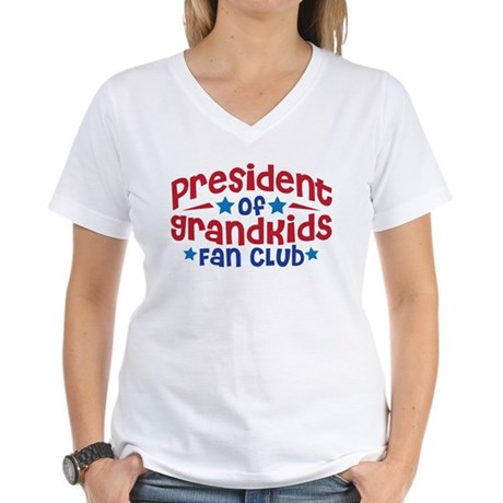 PRESIDENT GRANDKIDS FAN CLUB Women's V-Neck T-Shir