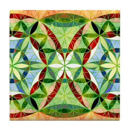 Festive Sacred Geometry Tile Coaster